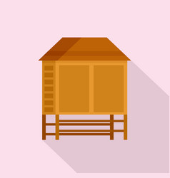 Wood asian house icon flat style vector