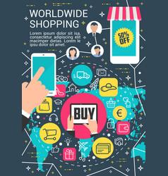worldwide online shopping internet poster vector image