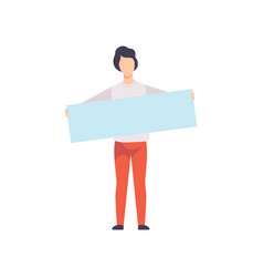 young man holding blank banner promotion vector image