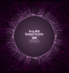 array with dynamic particles round dots vector image vector image