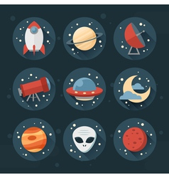 Astronomic round set of flat space icons vector image