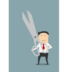 Businessman with a large pair of sharp scissors vector image