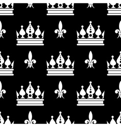 crowns fleur de lis seamless pattern in vector image