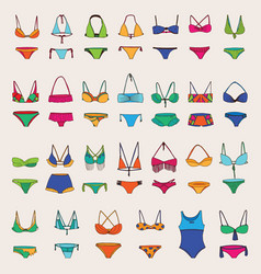 hand drawn set with various women swimsuits vector image vector image