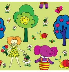 seamless garden print vector image