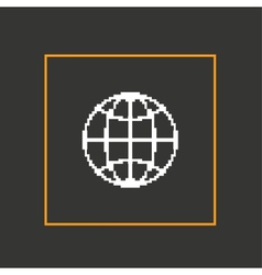 Simple dark pixel icon planet design vector image vector image