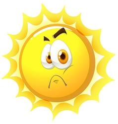 Sun with sad face vector image