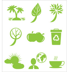 ecology protection themed green flat icons set vector image vector image