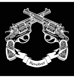 Hand Drawn Crossed Pistols With Ribbon vector image