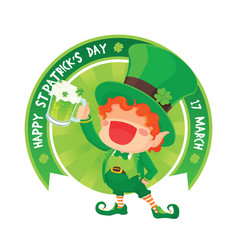 happy leprechaun holding beer vector image vector image