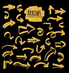 set of glitter golden arrows vector image