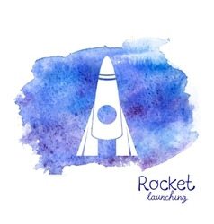 white rocket icon on watercolor background vector image