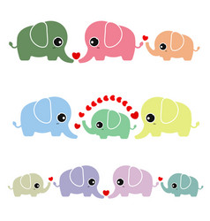 family cute elephant on white background vector image