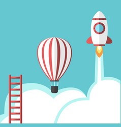 ladder balloon and rocket vector image vector image