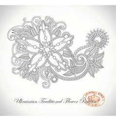 line art ornate flower design vector image