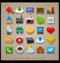multimedia icon set-5 vector image