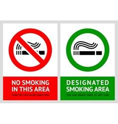 No smoking and Smoking area labels - Set 12 vector image vector image