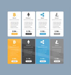 set of offer tariffs for cryptocurrency operations vector image