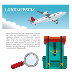 travel airplane backpack search flyer vector image