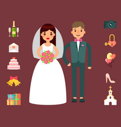 wedding invitation celebration set flat vector image vector image