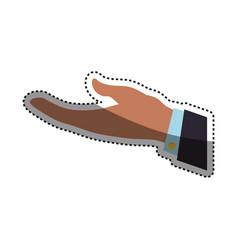 Businessman open hand request vector