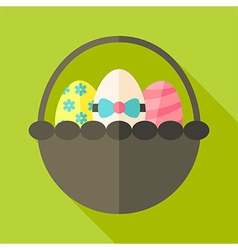 Easter basket with three eggs vector image