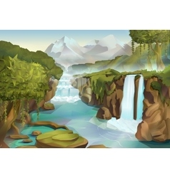 Forest and waterfall landscape vector image vector image