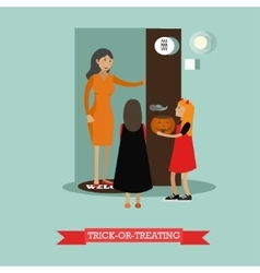 Kids playing trick or treat Happy halloween vector image