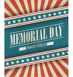 Memorial Day Typographic card with the American vector image