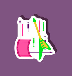 paper sticker on stylish background music and vector image