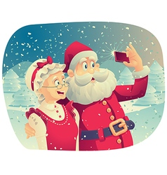 Santa Claus and Mrs Claus Taking a Photo Together vector image vector image