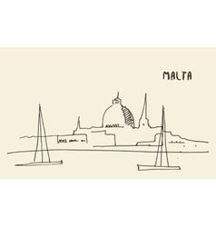 Sketch Malta view hand drawn vector image