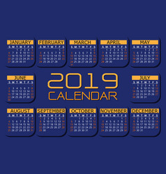 2019 calendar orange yellow on dark blue vector image