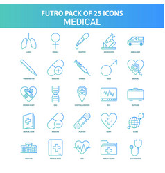25 green and blue futuro medical icon pack vector image