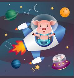 A cute pig in space galaxy vector