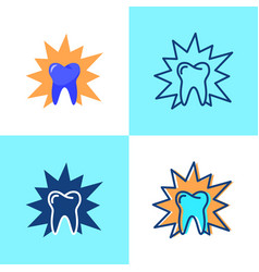 Aching tooth icon set in flat and line style vector