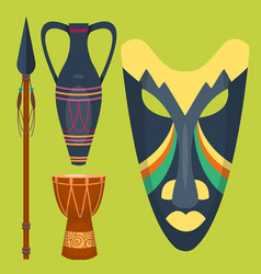 African mask djembe drum and vase music vector