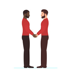 Afro american man and white man multiracial gay vector