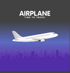 Airplane in the sky urban city silhouette vector