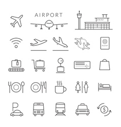 Airport Line Icons and Symbols Set vector