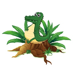 An alligator sitting above the wood vector