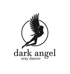 angel woman silhouette flying girl logo vector image