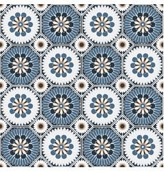 Arabesque octagonal floral seamless pattern vector