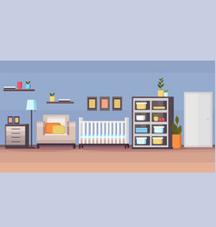 Baby bed newborn room interior design white wooden vector