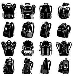 Backpack icons set simple style vector