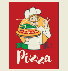 Banner with inscription pizza and winking chef vector