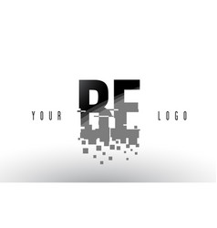 Be b e pixel letter logo with digital shattered vector