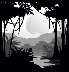 beautiful tropical scenery with rainforest vector image