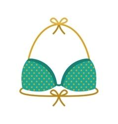 bikini bra green with yellow dots vector image