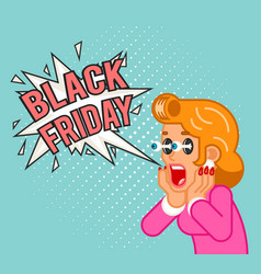 black friday sale surprised female customer girl vector image